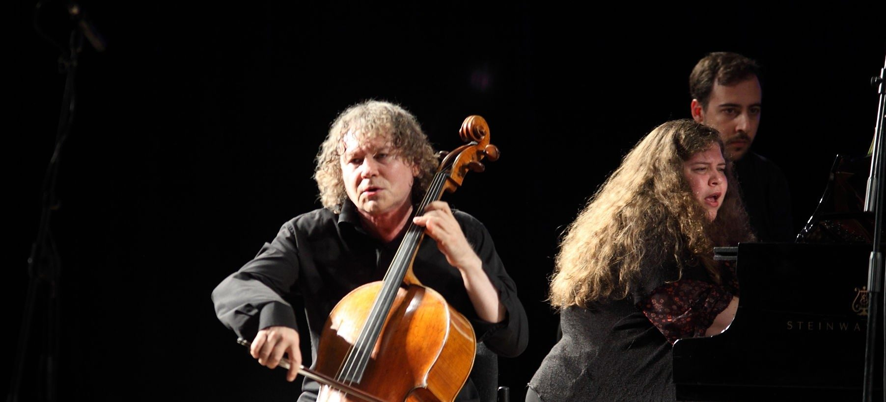 Musicians Alexander Knyazev, on cello, and Plamena Mangova, on piano, perform on stage at the Jerusalem International YMCA Concert Hall during the 19th Jerusalem International Chamber Music Festival (JCMF), Jerusalem, Israel, September 5, 2016. (Photo by Dan Porges/Getty Images)